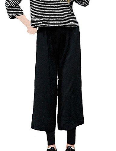 HU&HU Pantaloni Da donna A zampa Taglie forti / Da ufficio / Casual Rayon Media elasticità , black-5xl , black-5xl