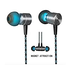 Earphones,Magnet Attraction In-Ear Earbuds Heaphones headset with Mic Microphone Stereo Bass with 3.5mm Jack (Green)