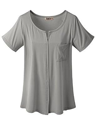 Doublju Womens Round Slit Detailed Short Sleeve Pocket T-shirt