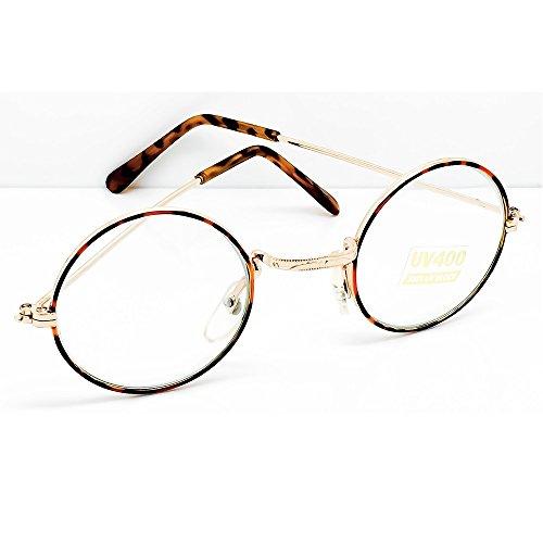 Occhiali neutri Hippie - stile TEASHADES John Lennon - montatura da vista ROTONDI uomo donna cult retrò - GOLD and HAVANA