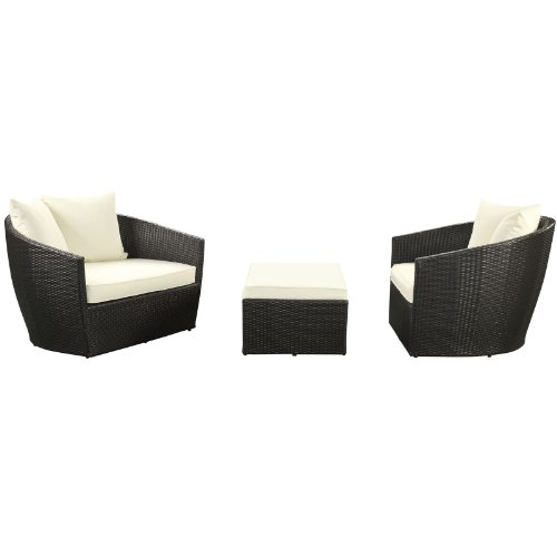 LexMod Kindred Outdoor Wicker Rattan Patio 2-Armchair and Ottoman Set