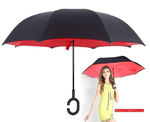 Tooge Travel Long Inverted Umbrella for Driver-C-Hook, Dome and Self Standing-Waterproof/Uv protection, Sunny/rainy Amphibious, Double Layer Surface Sunshade Reverse Umbrella