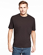 Pure Cotton Plain Crew Neck T-Shirt