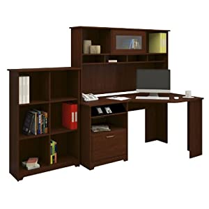Bush Furniture Cabot Corner Desk with Hutch and Bookcase, Espresso Oak Finish