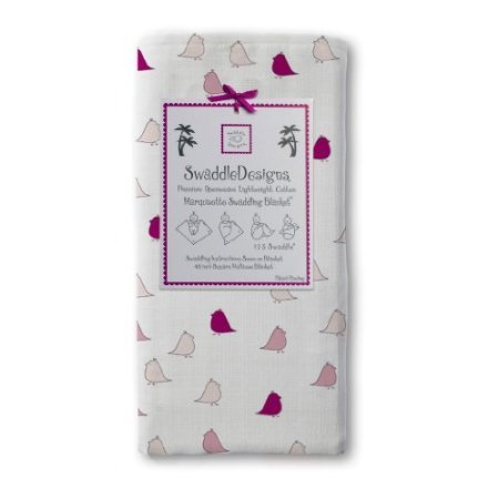 Swaddledesigns Jewel Tone Little Chickies Marquisette Swaddling Blanket, Very Berry back-823997
