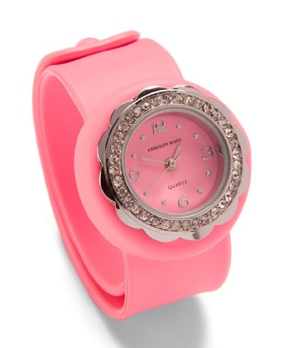 Addison Ross Unisex Quartz Watch with Pink Dial Analogue Display and Pink Silicone Strap WA0153
