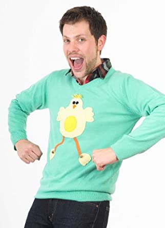 Woolly Babs Unisex Easter Chick V Neck Easter Jumper:Small-Green