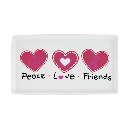 Cocktail Platter Cancer Peace Love Friends Heart Pink Ribbon
