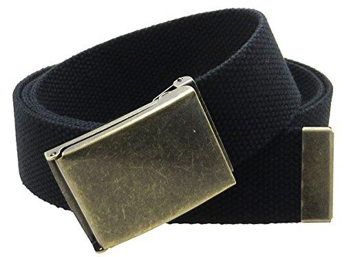 "Canvas Web Belt Flip-Top Antique Brass Buckle/Tip Solid Color 50"" Long 1.5"" Wide (Black)"
