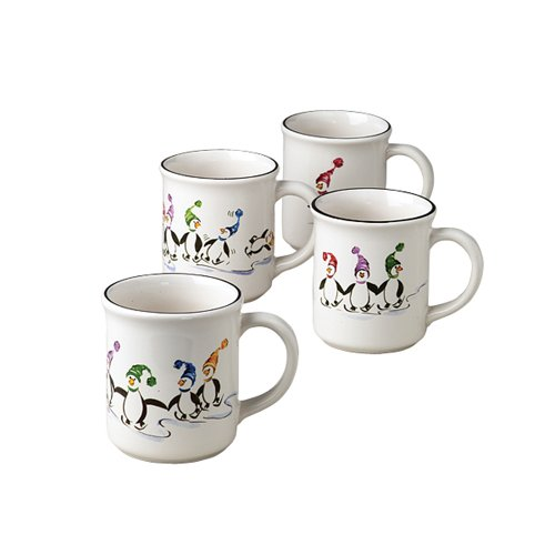 Pfaltzgraff Penguin Skate 12 Ounce Mugs, Set of 4