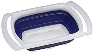 Progressive International 6 Quart Collapsible Over-the Sink Colander, Blue and White