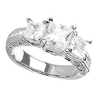 14K White Gold 1 1/3 ctw. Princess Cut Three-Stone Diamond Ring - (I-J;I1-I2)