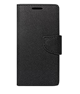 J.N Fancy Diary Card Wallet Flip Case Back Cover For Xiaomi Redmi Note 3 (Black)