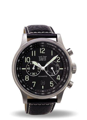 c648b64b220c Davis 1020 - Reloj Hombre Aviador 42mm - Cronógrafo Sumergible 50M - Correa  de Piel Negro