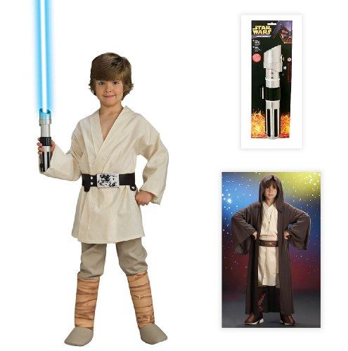Star Wars Luke Skywalker Deluxe Child Costume Including Robe & Lightsaber-Medium 8-10