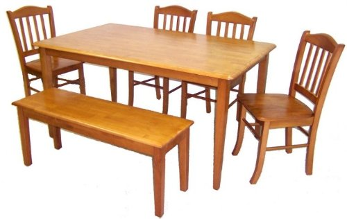 6pc Casual Dining Table and Chairs Set with Bench in Oak Finish