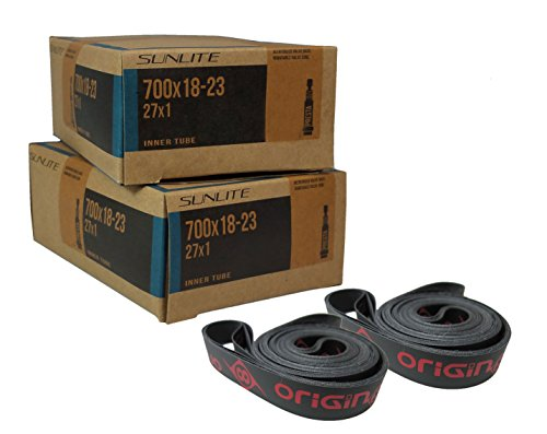 2 Tubes & Rim Strips, 700 x 18-23 (27 x 1) 32mm PRESTA Valve Inner Tube with 16mm PVC Rim Strip, Sunlite Tubes Origin 8 OR8. Road, Triathalon, Recumbent and others of the same tire size. (Bicycle Rim Strip 700 compare prices)