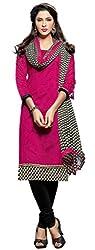Khushali Presents Chudidar Dress Material(Rani,Black)