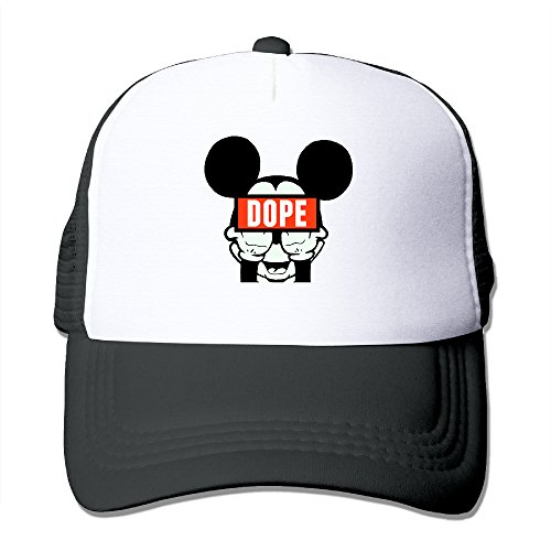 Texhood Dope Mickey Mouse Middle Fingers Geek Trucker Hat One Size Black (Diablos Fire Caps compare prices)
