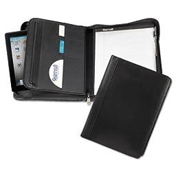 Leather Zipper Padfolio w/Writing Pad, Organizer Slots, Black, Sold as 1 Each