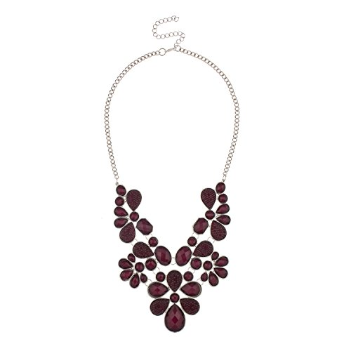 Lux Accessories Faceted Caviar Plum Teardrop Stone Large Statement Rhodium Chain Necklace