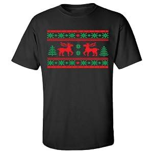 Festive Threads Ugly Christmas Sweater (Moose Design) Adult T-Shirt (Black, 4X-Large)