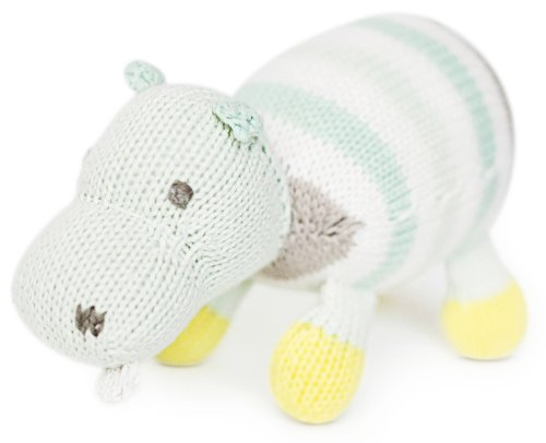 Finn + Emma Organic Cotton Baby Neutral Rattle Buddy - Hippo