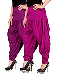 Navyataa Women's Lycra Dhoti Pants For Women Patiyala Dhoti Lycra Salwar Free Size (Pack Of 2) Purple & Magenta