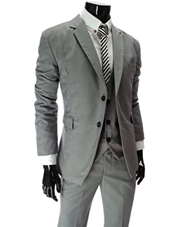 TheLees (TLJ1) Mens Business Slim Fit Notch Lapel 2 Button Blazer Gray XX-Large(US X-Large)