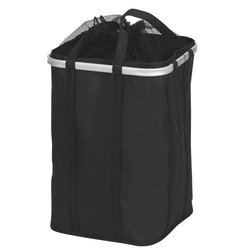 Household Essentials Collapsible Krush Laundry Hamper With Mesh Top And Aluminum Rim, Black front-14716