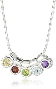 Sterling Silver Multi-Gemstone Round Bezel Necklace, 18