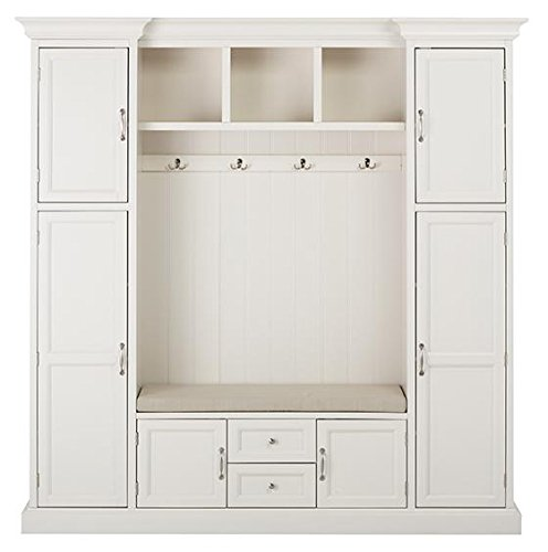 Best Review Of Royce All in one Mudroom, 81Hx79Wx17D, POLAR WHITE