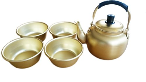 1l(33.8oz) Nickel-silver Plated Aluminum Yellow Kettle + 4 Bowls Set for Makgeolli Korean Raw Rice Wine (Makgeolli Rice Wine compare prices)