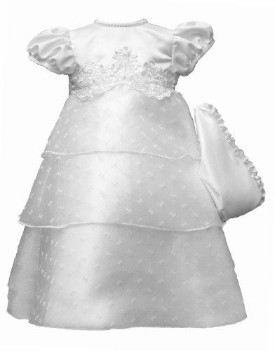 Lauren Madison Baby-Girls Newborn Pattern West Christening Dress, White, 6-9 Months