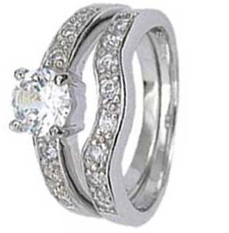 Sterling Silver Wedding Ring Set with Round Cubic Zirconia in Four Prong Setting