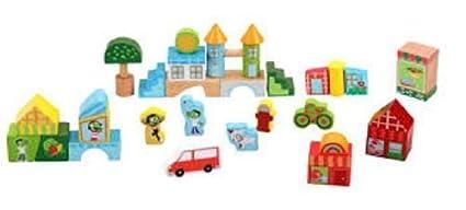 PBS Kids - 40 Pc Neighborhood Blocks Set - Wooden by PBS Kids (English Manual)