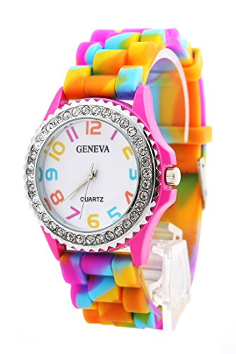 DAISY*VZU Girls New Geneva Rainbow Crystal Rhinestone Watch Silicone Jelly Link Band image