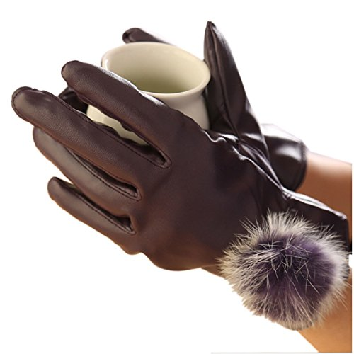 Mosunx(TM)Hot!Women Faux Leather Mitten Gloves Hand Warmer Driving Gloves