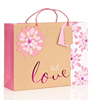 With Love Pink Craft Floral Large Gift Bag