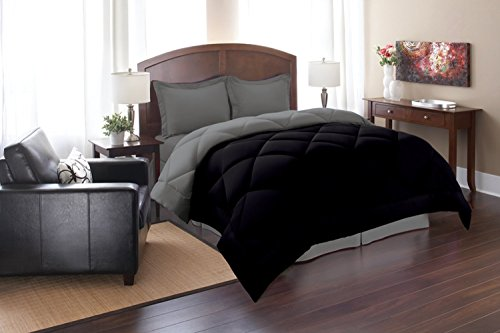 Super Soft Goose Down Reversible Alternative Comforter - All Sizes And Many Colors Available , Queen , Black/Gray front-474643