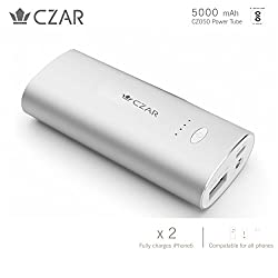 CZAR Silver 5000 mAh, Slim body Power Bank with1 Year warranty, Bureau of Indian Standards Certified, Compatible with most smartphone, tablets and Bluetooth speakers