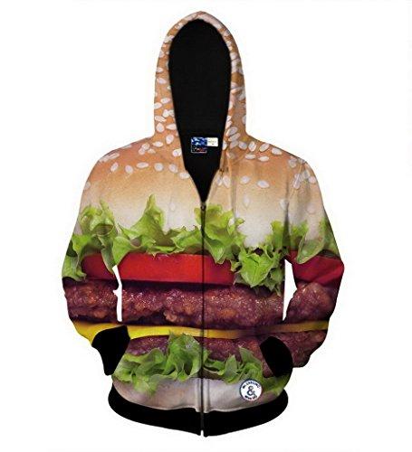 Groupstars Men Fashion Hip Hop Style 3D Hamburger Print Hoodies XX-Large Multicoloured