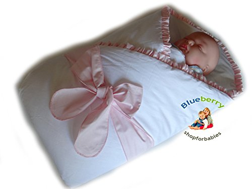 Blueberry Shop Luxury Warm Newborn Swaddle Wrap Blanket Duvet Sleeping Bag Satin Cotton Pink