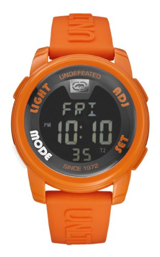 Marc Ecko - E07503G9 - The 20-20 - Montre Mixte - Quartz Digital - Cadran Noir - Bracelet Silicone Orange