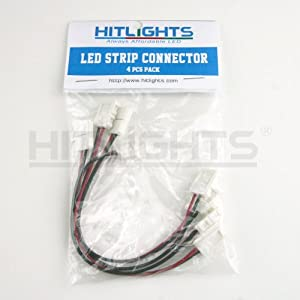 HitLights LED PCB Strip to Strip Connector, 2 Conductor, Any Angle Turn, For SMD3528 LED Strip Lights (4 Pcs Pack)