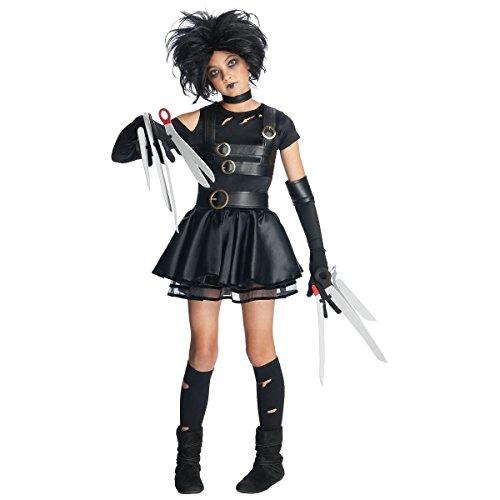 [GSG Miss Costume Tween Preteen Kids Gothic Halloween Dress] (Miss Scissorhands Costume Makeup)