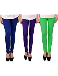 Snoogg Womens Ethnic Chic Inspired Churidar Leggings In Blue, Purple And Green