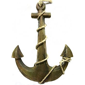 Wood Ship Anchor Ground Tackle Mainstay Boat Ocean Nautical Tropical Home Decor Wall Art Hanging Bed Bath Pool Lake Bar