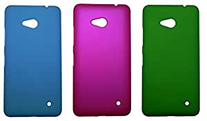 Topping Premium Rubberized Back Hard Cover Case For Microsoft Lumia 640 - Skyblue,Pink & Green