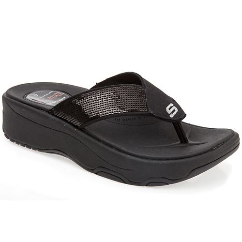 43a24daa786a Save on Skechers Women s Tone Ups Shadow Box Thong Sandal Black Squared 8 M  US + Free Shipping Buy Now! Ship in USA.
